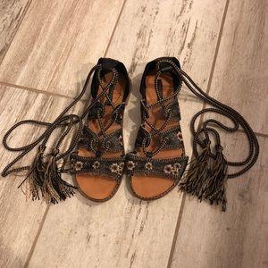 Tan black lace up leg sandals